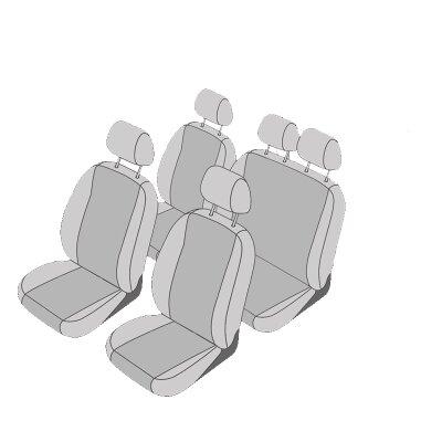 VW Caddy, Bj. 2004 - 2010 / Maßangefertigtes Komplettsetangebot 5-Sitzer