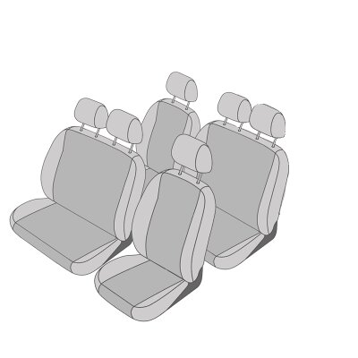 VW T5 Transporter / Caravelle Facelift, Bj. 10/2009 - 2015 / Maßangefertigtes Komplettset 6-Sitzer