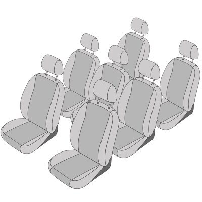 VW Touran Facelift, Bj. 2010 - 2015 / Maßangefertigtes Komplettset 7-Sitzer